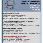 Actividades del Consejo Consultivo de la Comuna 15- Mayo 2021
