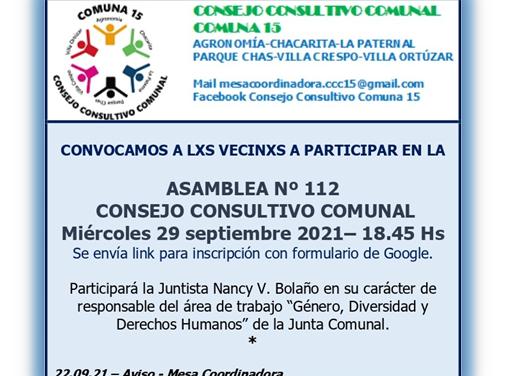 Convocatoria para participar en la Asamblea 112 del Consejo Consultivo Comunal de la Comuna 15