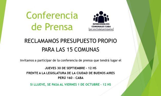 Conferencia de Prensa: Reclamo de presupuesto propio para las 15 comunas