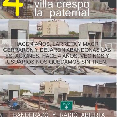 """""""El tren pasa pero no para"""": Banderazo y radio abierta en la estación Villa Crespo"""
